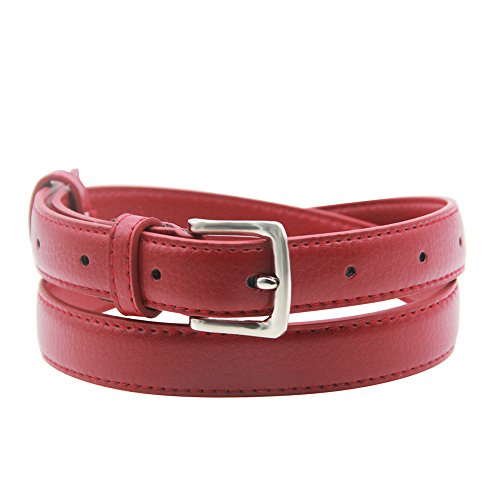 Red Skinny Belt (Maikun Womens Skinny Leather Belt Solid Color Pin Buckle Simple Belts Red 32-34