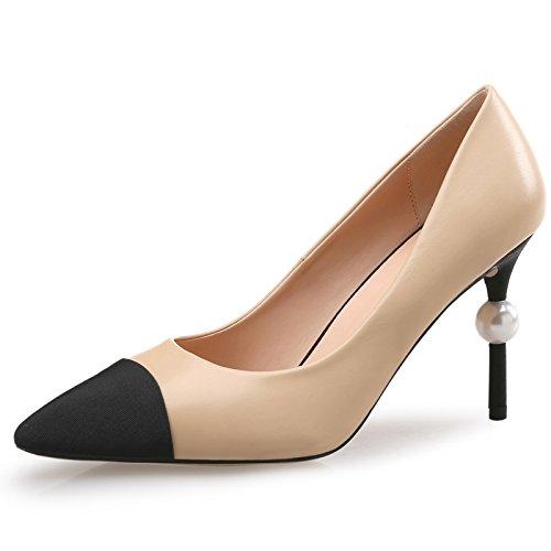shoes scarpe colori heeled tutto i albicocca colore mano club scarpe sexy puntata solo high con pearl primavera trentotto bene le night ZHANGJIA wzFqxIUI