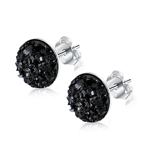 EVERU Sterling Silver Round Druzy Stud Earrings, 8 Colors Options, 8mm (Black)