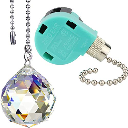 1 Pack Ceiling Fan Switch 3 Speed ZE-268S6 with Crystal Ball Beaded Pull Chain Extension for Ceiling Fans Lamps and Wall Lights (1 Silver Switch & 1 Crystal Ball Pull Chain) ()