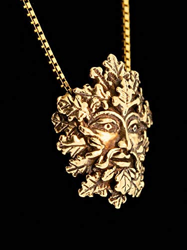 Green Man Pendant 14K Gold Necklace Leaf Man Charm