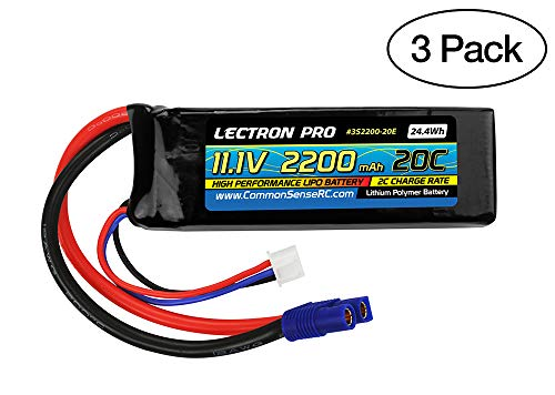 Common Sense RC (3 Pack) Lectron Pro 11.1V 2200mAh 20C Lipo Battery with EC3 Connector for Blade 400 Helis & Parkzone Strykers -