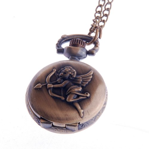 Ladies Pocket Watch Pendant Small Face with Chain White Dial Vintage Reproduction Cupid Angel PW-62 -