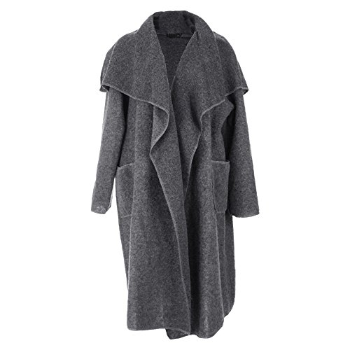 Boiled Mix FASHIONCHIC Lagenlook Charcoal New Pocket Coat 26 Jacket Wool 16 Italian Waterfall Duster YIHqExrH