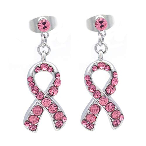 Light Pink Ribbon Breast Cancer Awareness Stud Post Earrings Rhinestones