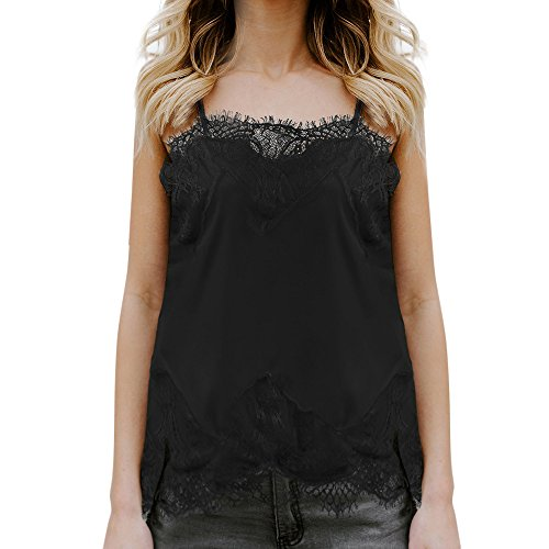 【MOHOLL】 Womens Summer Embroidered Sleeveless Cami Shirt Strappy V Neck Tank Tops Blouse Black