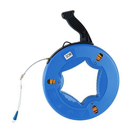 Fiberglass Electrical Tape - Yaetek 4mmx30m(5/32 Inch,100FT) Fiberglass Wire Cable Electrical Fish Tape Reel, Fiberglass Wall line Reel Fishtape Puller, Blue