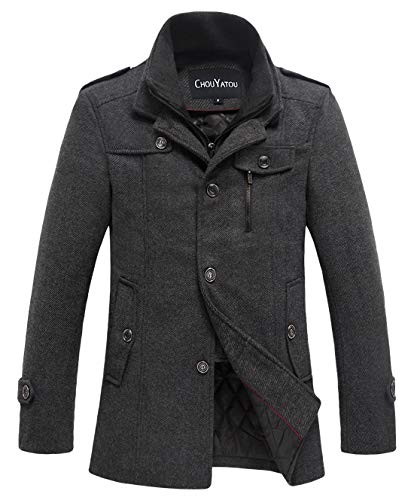chouyatou Men's Winter Stylish Wool Blend Single Breasted Military Peacoat (Large, Thick-Grey)