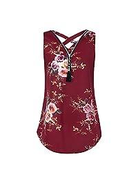 HGWXX7 Women Loose Solid Chiffon Plus Size Cross Zipper V-Neck Blouse Tank Tops