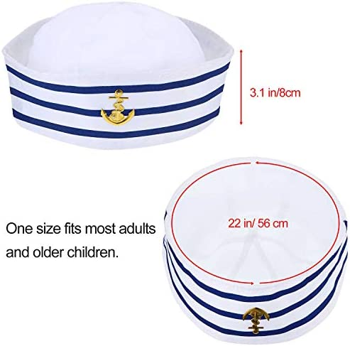 6 Pieces Blue with White Sail Hats Navy Sailor Hat for Costume Accessory, Dressing up Party
