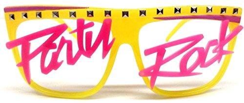 Glow in the Dark Party Rock Wayfarer Sunglasses Yellow Frame & Pink (Glow In The Dark Halloween Shirts)