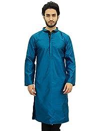 Atasi Men's Casual Dupion Long Kurta Mandarin Collar Ethnic Shirt
