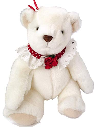 (Valentine White Victorian Teddy Bear Stuffed Animal with Lace Collar, Plush Pal)