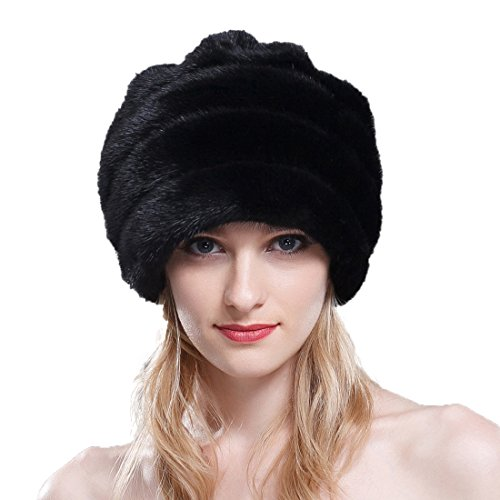 URSFUR Mink Fur Women's Beanies Hat With Lovely Rose Black by URSFUR