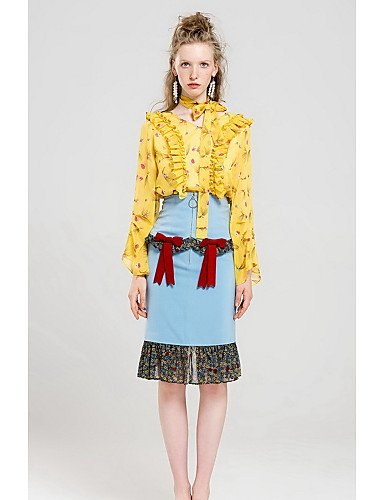 Yellow Large Xuanku Women's Going out Simple Fall Blouse,Print V Neck Long Sleeves Polyester Medium