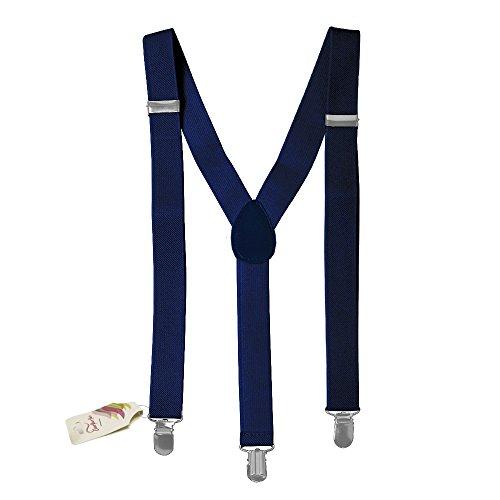 CoverYourHair Navy Suspenders - Suspenders for Men / Women - Adjustable Suspenders - Wide Suspenders ()