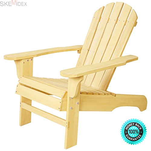 SKEMIDEX New Outdoor Natural Fir Wood Adirondack Chair Patio Lawn Deck Garden Furniture Bulid from solid fir, this Adirondack Chair will hold up to the abuses of being used outside and retain by SKEMIDEX