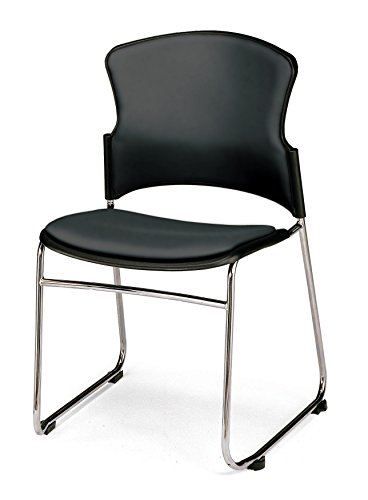 OFM Contract Anti-Microbial Vinyl Stack Chair, Black