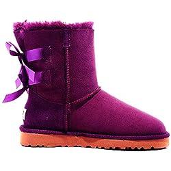 Women Snow Boots Waterproof Genuine Leather Winter Shoes Sheepskin Boots,2 Bow Dark Purple,7