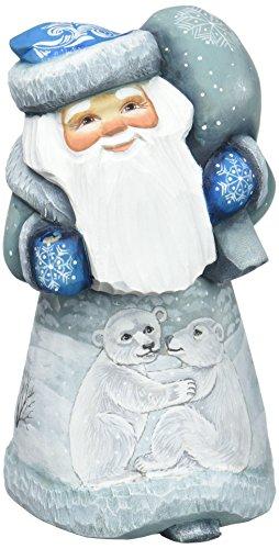 G. Debrekht Polar Explorer Wilderness Santa Hand-Painted Wood Carving