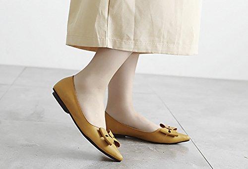 Qzunique Womens Fermé Bout Pointu Solides Appartements Avec Bowknot Confortable Chaussures De Travail Marron
