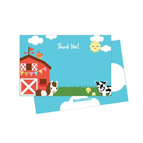 Farm Barnyard Thank You Cards (25 Count) With Envelopes and Seal Stickers Bulk Birthday Party Bridal Blank Graduation Kids Children Boy Girl Baby Shower (25ct) (1st Birthday Thank You)