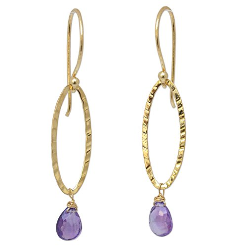 NOVICA Amethyst .925, 24k Yellow Gold Plated Silver Dangle Earrings 'Iris Dewdrop' (Iris Vermeil)
