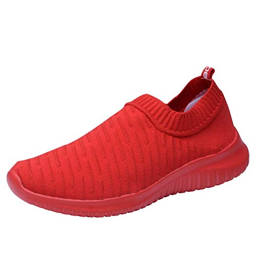 KONHILL Women 's Walking Tennis Shoes - Lightweight Athletic Sport Gym Slip on Sneakers, Red, 38