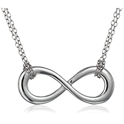 Sterling Silver Sideway Infinity Double-Chain Necklace, 18""