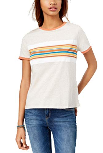 Rebellious One Juniors' Cotton Graphic Ringer T-Shirt (Heather Oatmeal Rust, M) ()