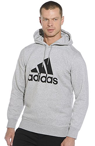 adias Men's Sport Essentials Fleece Logo Hoodie (Small) Medium Grey Heather/Black