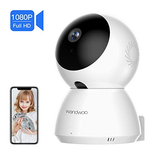 wandwoo 1080P Full HD Wireless IP Security Camera, WiFi Security Camera for Baby/Pet Monitor, Surveillance Home Security Camera with Remote PTZ Control,Motion Detection, Two-Way Audio & Night Vision