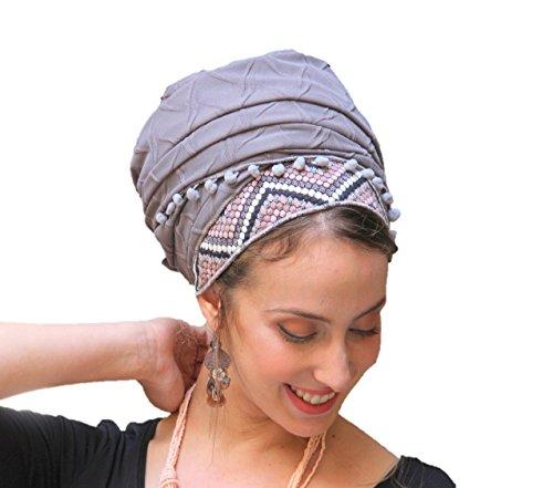 Sara Attali Tichel Full Hair Covering Headscarf Tichel One Size Romantic Fall Pink & Grey by Sara Attali Design