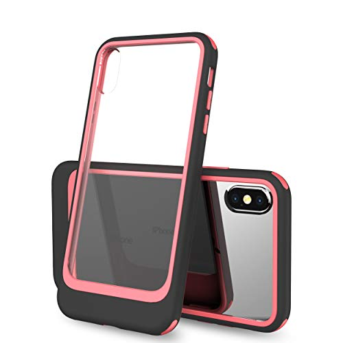 (iPhone Xs Max Case, Futanwei Dual Layer 2 in 1 Ultra Slim Contrast Color Case Heavy Duty Armor Shockproof Full-Body Protective [Acrylic+TPU+Hard PC] Case for iPhone Xs Max Phone, Black + Pink)