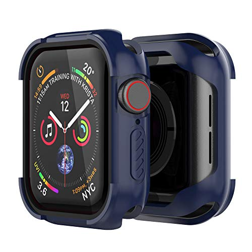 UMTELE Compatible with Apple Watch 4 Case 44mm 2018, Shock Proof Protective Rugged Case Scratch Resistant Bumper Cover Replacement for Apple Watch Series 4, 44mm (Blue)