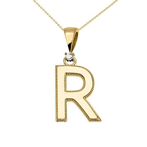 """Collier Femme Pendentif 14 Ct Or Jaune Poli Élevé Milgrain Solitaire Diamant """"R"""" Initiale (Livré avec une 45cm Chaîne)"""