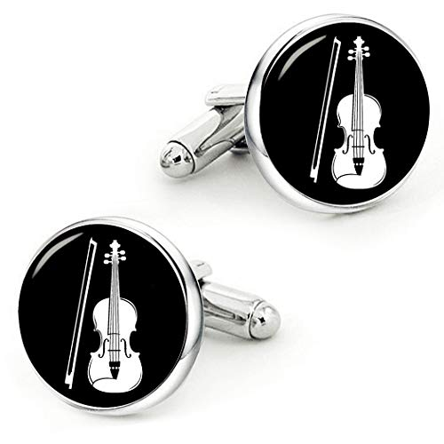 Miles Davis Trumpet Player - Kooer Music Violin Cufflinks Custom Personalized Instrument Cuff Links Jewelry Gift (Violin)