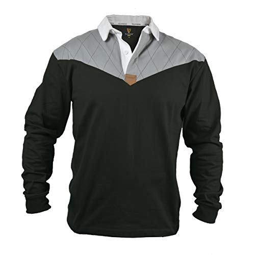Guinness Heritage Charcoal Grey and Black Long Sleeve Rugby Jersey (X-Large)