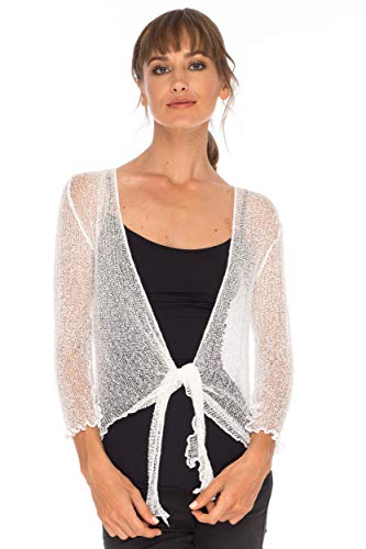 SHU-SHI Womens Sheer Shrug Tie Top Cardigan Lightweight Knit,White,One ()