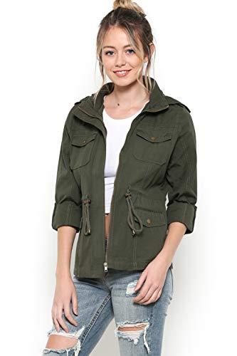 - Urban Look Women's Zip Up Military Anorak Jackets (Medium, Style C Olive)