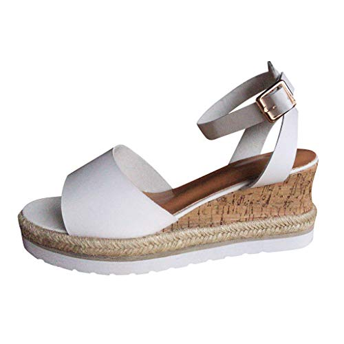 Women's Platform Wedge-High Sandals Strappy Open Toe Espadrille Ankle Strap Buckle Shoes White]()