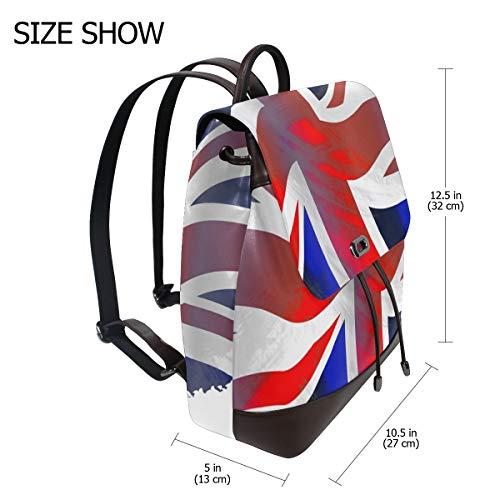 Kvinnor PU-läder Storbritannien flagga värld flaggor Kingdom emblem ryggsäck handväska resa skola axelväska ledig dagpackning