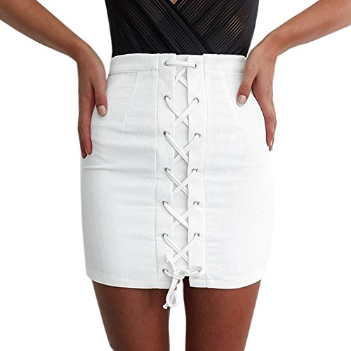 CANIS Vintage Women Basic High Waist Slim Bandage Skirt White Mini (XL)