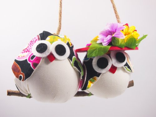 - Thai Handmade - Two Cute Colorful Owl Couple - Wall Hanger for Home and Garden Decoration