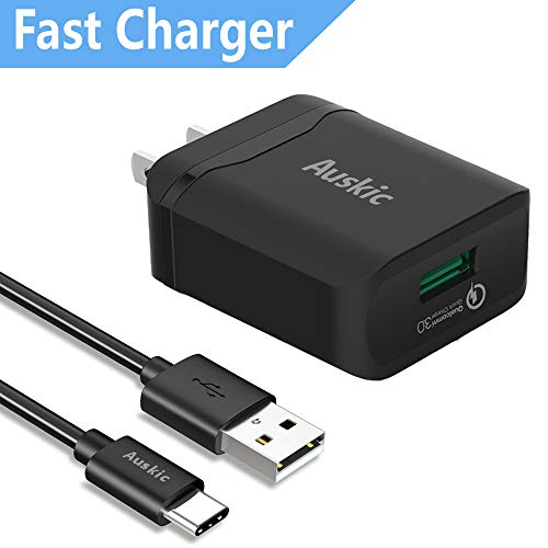 (Samsung Galaxy S10 S10+ S10E S9 S8 S9+ Note 9 Note 8 S8 Plus Charger, Quick Charge 3.0 Wall Charger Auskic Rapid USB Type C Charger for LG G6 USB Wall Charger for Samsung Fast Charger and USB C Cable)