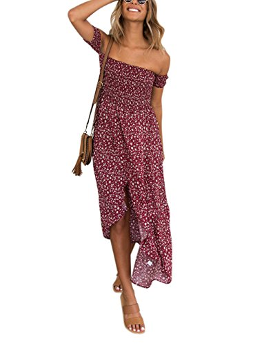 Women's Summer Boho Off The Shoulder Long Maxi Casual Dresses Split (XL, 010-Red)