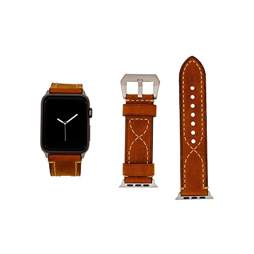 (Cailin foriWatch Series 3/Series 2/Series 1 Band, Buckle Cuff iWatch Genuine Leather Band Bracelet Wrist Watch Band Iwatch Series 3)