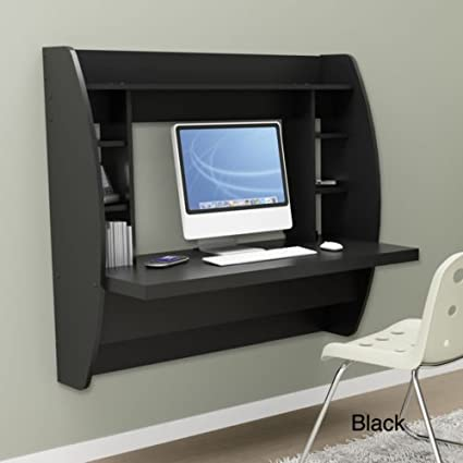 Black Floating Desk With Storage. This Office Desk Furniture Is A Space  Saving Solution For