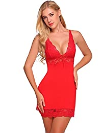 Sexy Floral Lace Patchwork Night Gown Full Slip Sleepwear Lingerie Chemise