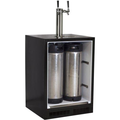 Marvel ML24BTP3LP Twin Tap Built-In Beer Dispenser with Left Side Hinge, 24'', Black